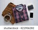 flat lay of men's casual... | Shutterstock . vector #421906282