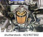 engine oil filter cross section ... | Shutterstock . vector #421907302