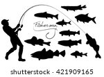 fisherman and fishes silhouettes | Shutterstock .eps vector #421909165