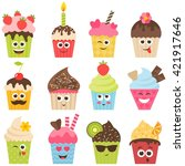 set of cupcake smileys. raster... | Shutterstock . vector #421917646