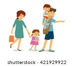 happy family with two kids... | Shutterstock .eps vector #421929922