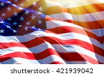 flag of the usa with sunflare  | Shutterstock . vector #421939042