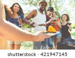 group of friends making... | Shutterstock . vector #421947145