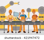 work on the conveyor. vector.... | Shutterstock .eps vector #421947472