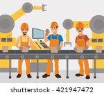 work on the conveyor. vector.... | Shutterstock .eps vector #421947472
