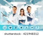 three doctors and virtual... | Shutterstock . vector #421948312