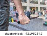 murderer or killer is attacking ...   Shutterstock . vector #421952542