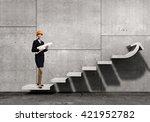 woman designer in interior | Shutterstock . vector #421952782