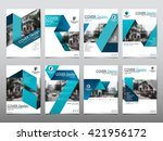 blue fold set technology annual ... | Shutterstock .eps vector #421956172