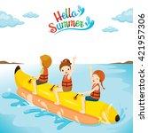 children having fun on banana... | Shutterstock .eps vector #421957306