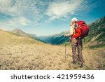 woman traveler with red... | Shutterstock . vector #421959436