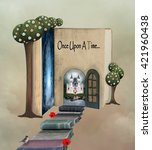 pathway to the book land   3d... | Shutterstock . vector #421960438