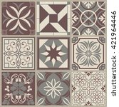 collection of 9 ceramic tiles... | Shutterstock .eps vector #421964446