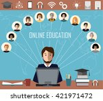 tutor and his online education... | Shutterstock .eps vector #421971472