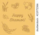 seven species of the shavuot ... | Shutterstock .eps vector #421972366