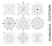mystical geometry symbols set.... | Shutterstock .eps vector #421972696