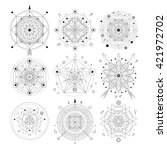 mystical geometry symbols set.... | Shutterstock .eps vector #421972702