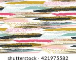 Stock vector vector seamless pattern with hand drawn gold glitter textured brush strokes and stripes hand 421975582