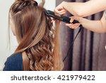 golden haired blonde doing the... | Shutterstock . vector #421979422