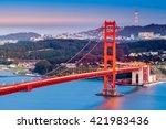 golden gate bridge at dusk   Shutterstock . vector #421983436