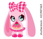 cute bunny with a cake. pink...   Shutterstock .eps vector #421987465