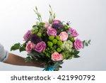 rose bush hriantema  trachelium ... | Shutterstock . vector #421990792