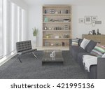 bright and cozy living room... | Shutterstock . vector #421995136