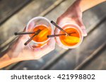 friends toasting with drinks.... | Shutterstock . vector #421998802