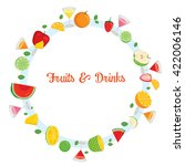 fruits and drinks on circle... | Shutterstock .eps vector #422006146