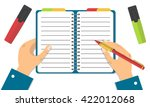 hand holding notebook and... | Shutterstock .eps vector #422012068