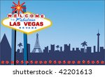 Stock vector las vegas welcome sign with strip behind layered for easy changes 42201613