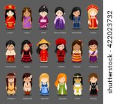 cartoon girls in different... | Shutterstock .eps vector #422023732