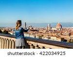 young girl enjoying the... | Shutterstock . vector #422034925