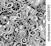 cartoon hand drawn nautical... | Shutterstock .eps vector #422035792