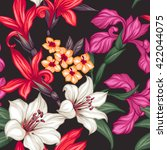 tropical floral seamless... | Shutterstock .eps vector #422044075