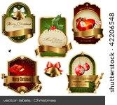 vector set  christmas labels   Shutterstock .eps vector #42206548