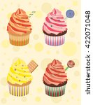 colorful cupcakes with cream | Shutterstock .eps vector #422071048