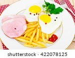french fries with scrambled... | Shutterstock . vector #422078125