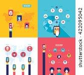 social network technology... | Shutterstock .eps vector #422095042