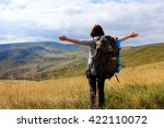 young woman  hiker  with... | Shutterstock . vector #422110072