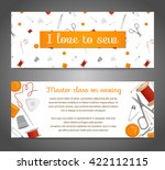 banners with sewing tools and... | Shutterstock .eps vector #422112115