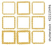 set of 9 decorative square gold ... | Shutterstock .eps vector #422115496