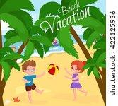children summertime vacation...   Shutterstock .eps vector #422125936