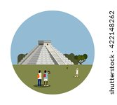 aztec pyramid icon isolated on...