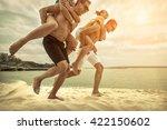 friends fun on the beach under... | Shutterstock . vector #422150602