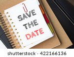 text save the date on white... | Shutterstock . vector #422166136