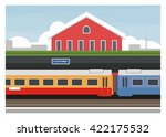 passenger train stop in the... | Shutterstock .eps vector #422175532