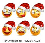 holiday set of smiley face... | Shutterstock .eps vector #422197126