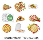 collage of different pizzas... | Shutterstock . vector #422262235