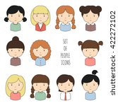 set of colorful female faces... | Shutterstock . vector #422272102